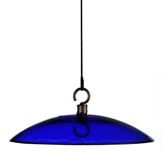 "Mosaic Birds Petite 11"" Glass Baffle Weather Dome Cobalt Blue"