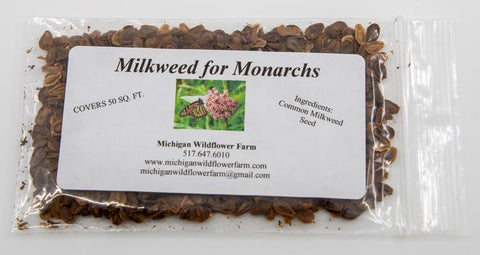 common milkweed seed packet for monarchs