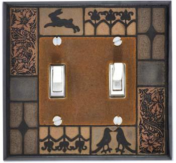 Mission Tile double Switch Plate Covers