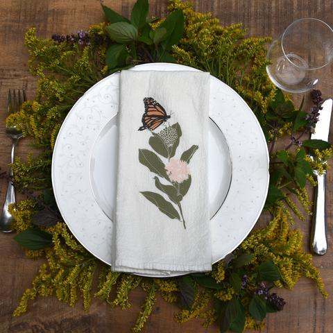 Napkin with monarch printed