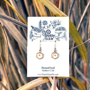 Hexagon Mustard Seed Earrings