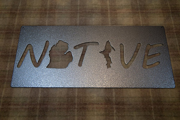 Silver Vein Metal Michigan Native sign
