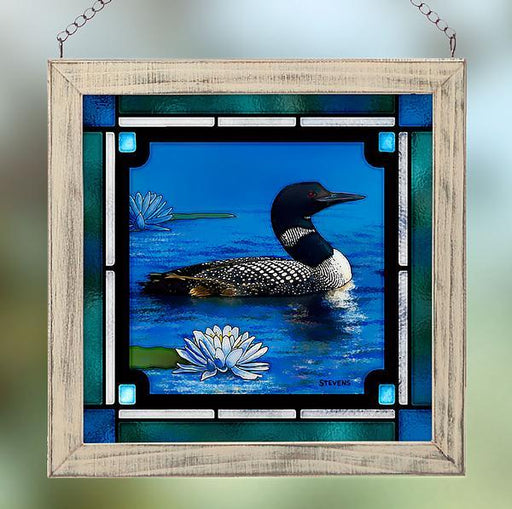 Northland Retreat Loon Stained Glass Art