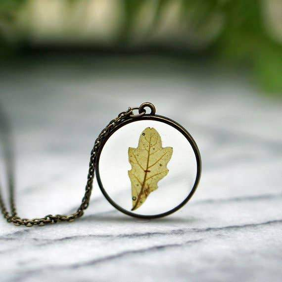 Real Oak Leaf Necklace