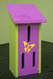 Green and purple recycled butterfly house