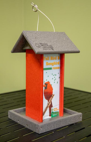 Red and gray Tall Bird Feeder