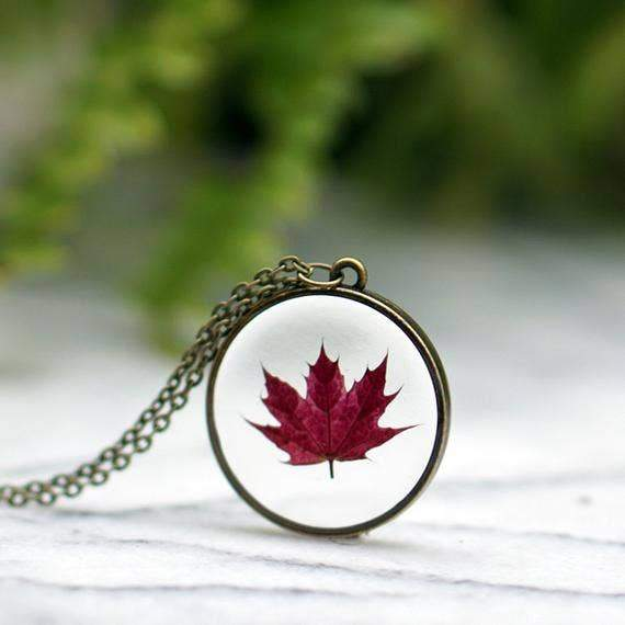 Pretty pickle Red Maple Leaf Necklace