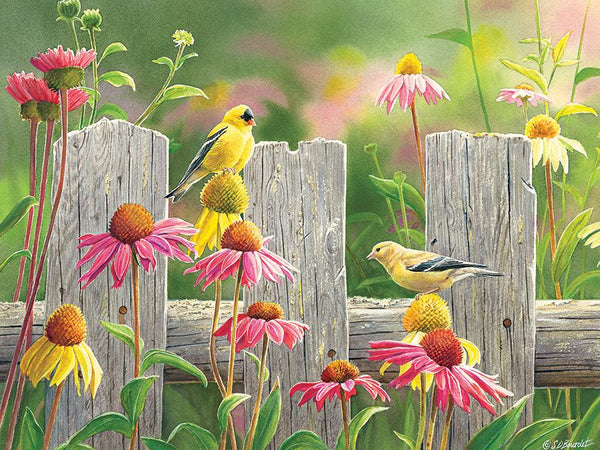Pink and Gold finch 275 Piece Jigsaw Puzzle