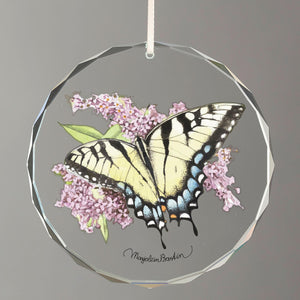 Tiger Swallowtail Butterfly Round Glass Ornament
