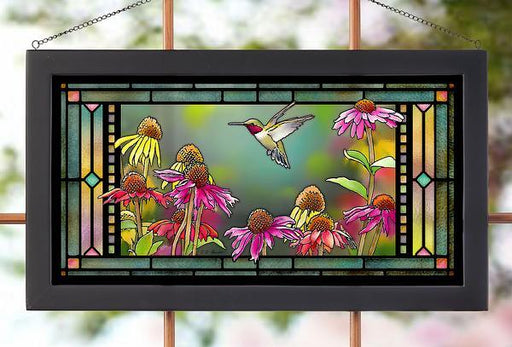 Ruby in Echinacea – Hummingbird Stained Glass Art