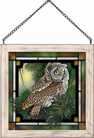 Screech Owl Stained Glass Art