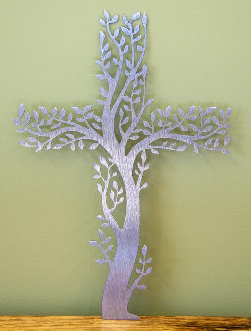Stainless steel tree of life cross