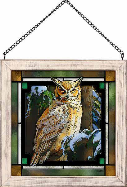 snowy perch- great horned owl stained glass art