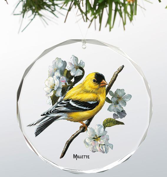 Spring - Goldfinches Round Glass Ornament