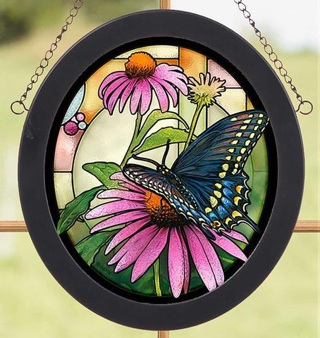 Black Swallowtail Butterfly Stained Glass Art
