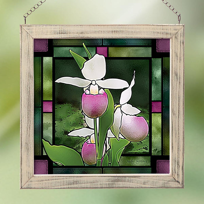 Three Lady Slippers Stained Glass Art
