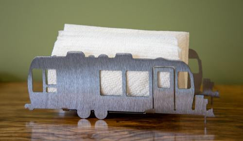 Stainless camper trailer napkin and candle holder
