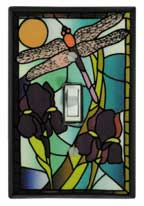Stained Glass Dragonfly Single Switch