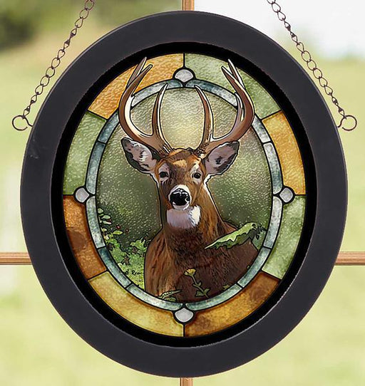 at close range - whitetailed buck stained glass art