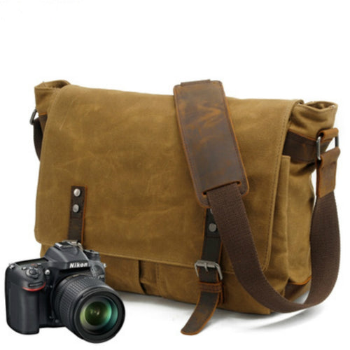 Canvas Vintage SLR Camera Bag Waterproof soft sling Camera Shoulder Bag Strap Case Casual Shoulder Messenger Pack for Canon Sony
