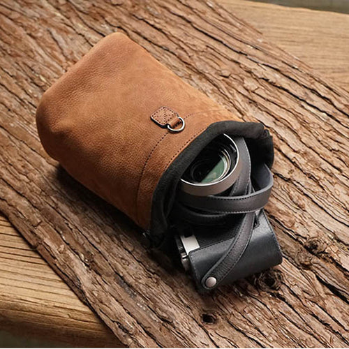 Roadfisher Brown Drawstring Genuine Leather Camera Bag Insert Storage Pocket Pouch For Canon Nikon Sony Fuji Leica A7 Ricoh Lens
