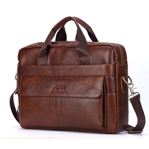 Men Genuine Leather Handbags Casual Leather Laptop Bags Male Business Travel Messenger Bags Men's Crossbody Shoulder Bag