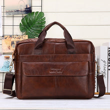 Load image into Gallery viewer, Men Genuine Leather Handbags Casual Leather Laptop Bags Male Business Travel Messenger Bags Men's Crossbody Shoulder Bag