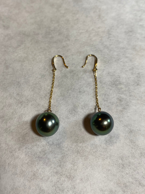11mm Black Pearl Earrings (14k)