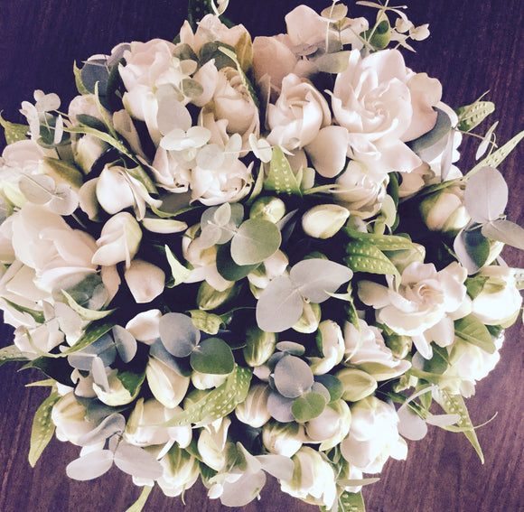Gardenia and Dollar Eucalyptus Bouquet (L)