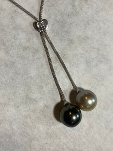 14mm Black Pearl Heart Pendant