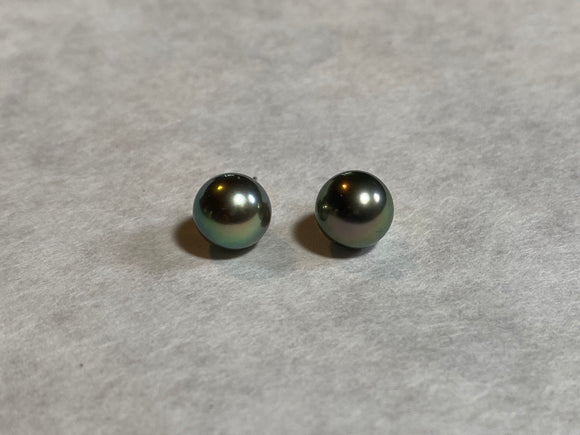 9mm Black Pearl Stud Earrings (14k)