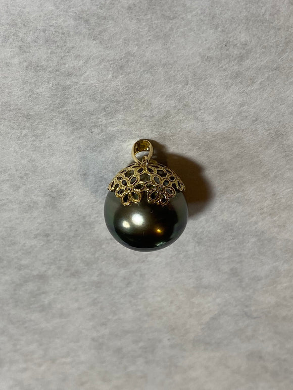 16mm Black Pearl Flower Pendant (14k)