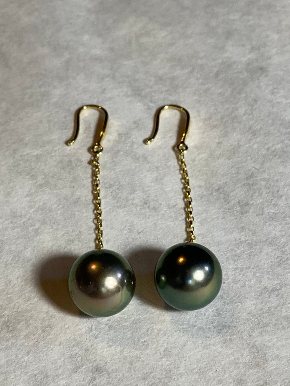 10mm Black Pearl Earrings (14k)