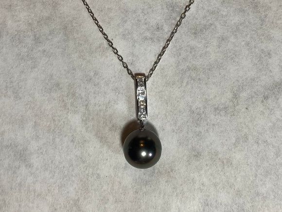 14mm Black Pearl Crystal Pendant