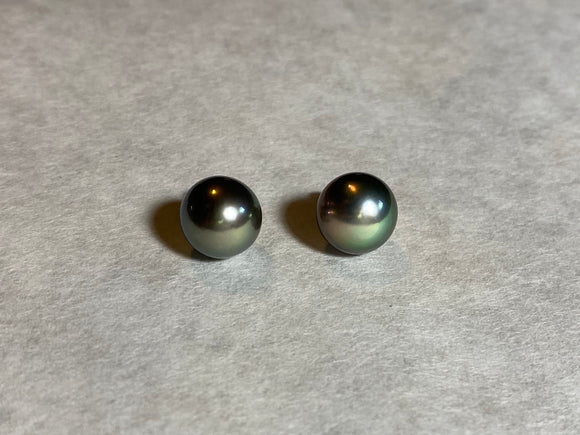 10mm Black Pearls Stud Earrings (14k)
