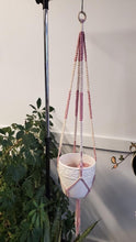 Load image into Gallery viewer, Pink + Natural Macrame Plant Hanger #9