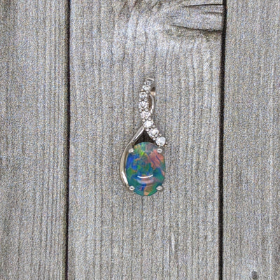 Idaho Opal and Diamond Pendant