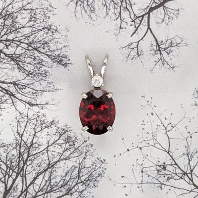 Idaho Garnet Pendant with Diamond