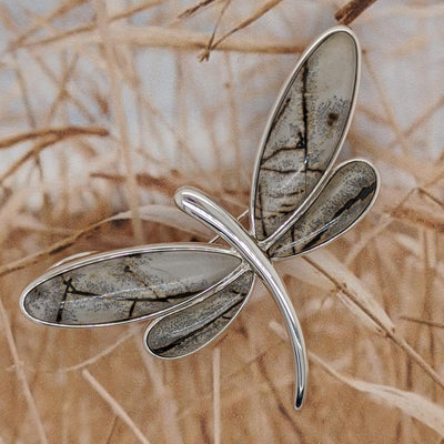 Sterling Silver Paintbrush Agate Dragonfly Pendant and Pin
