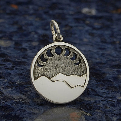 Sterling Silver Mountain Pendant with Moon Phase Cutouts