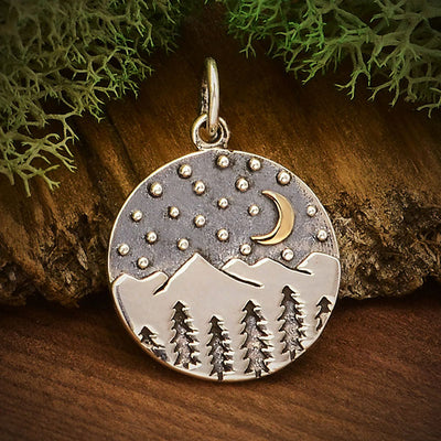 Sterling Silver Nighttime in the Mountains Pendant