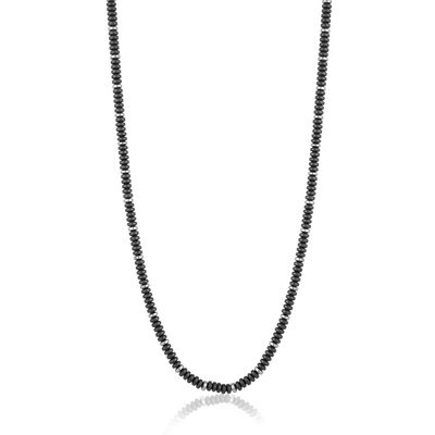 Mens Hematite and stainless steel Bead Necklace