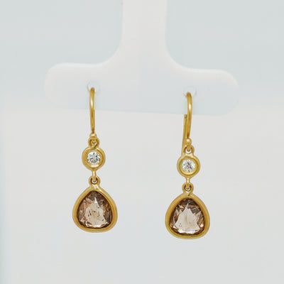 Rustic Brown and White Diamond drop earrings