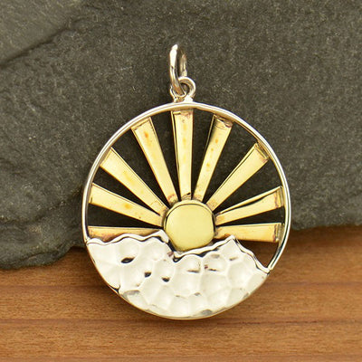 Sterling Silver Mountain Range with Morning Sun Rays Pendant