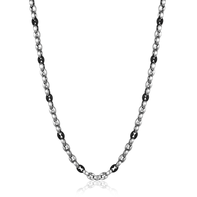 Black and Silver Stainless Steel Necklace