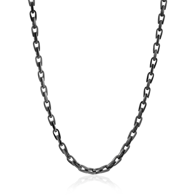 Black Ion Plated Stainless Steel mens fancy link Necklace