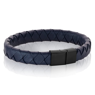 Mens blue leather braided bracelet