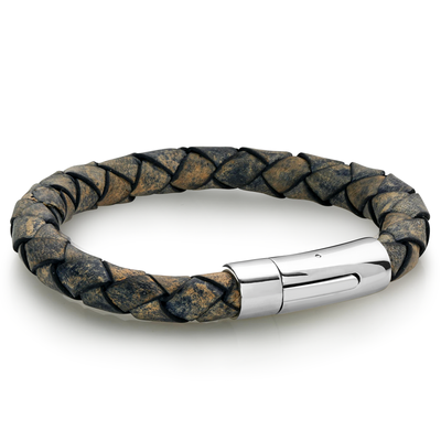 Distressed Braided Leather Bracelet