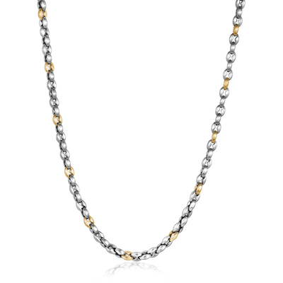 Yellow and Silver Stainless Steel Necklace
