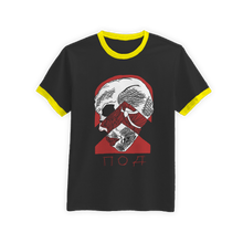 Load image into Gallery viewer, skele_ringer_shirt_black_yellow_ringer